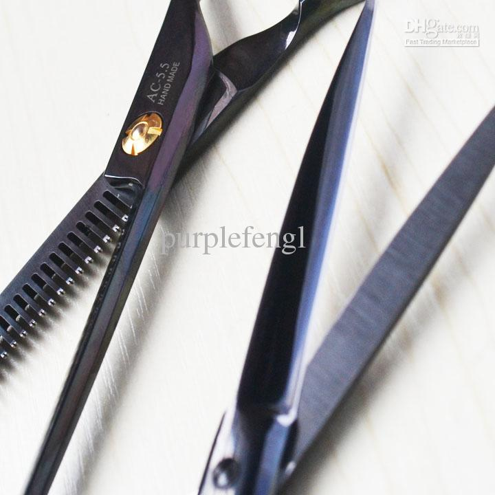 Barber Hair scissors set Back titanium 5.5 inch hair thinning scissors and hair cutting scissors DIY at home professional salon