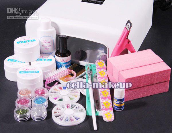 36W UV GEL White Lamp Dryer LIGHT NAIL ART Manicure TIPS SET KIT 6 Blocks 252