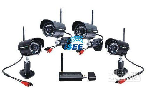 2.4Ghz Digital Wireless Security Kit including 4pcsWireless waterproof night vision Cameras &1pc USB Receiver